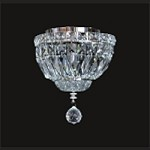"Invisible Design 2-Light 8"" Chrome or Gold Ceiling Flush Mount with European or Swarovski Crystals SKU# 11366"