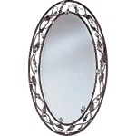 "Elegante Collection 33"" Oil Rubbed Bronze Oval Mirror with Crystal Accents 2849OI"