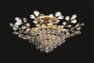 "French Branch of Light 8-Light 31"" Gold Semi Flush Mount Dressed with European Crystals SKU# 10654"