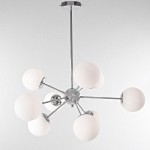 "Contempré Series Euro Design Art Deco 9-Light 24"" White Glass Pendant Chrome Chandelier SKU# 10935"
