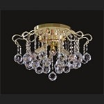 "Contour Design 6-Light 16"" Gold or Chrome Flush Mount with European or Swarovki Crystals  SKU# 85216"
