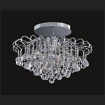 "Contour Design 6-Light 18"" Gold or Chrome Flush Mount with European or Swarovski Spectra Crystal Strands  SKU# 85215"