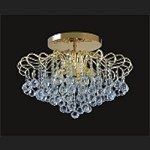 "Contour Design 9-Light 24"" Gold or Chrome Flush Mount with European or Swarovski Spectra Crystal Strands  SKU# 85217"