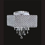 "Chrome 4-Light 17"" Flush Mount with Steel Shade and Clear Crystal SKU# 85745"
