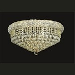 Bagel Design 10-Light 24'' Gold or Chrome Round Ceiling Flush Mount Dressed with European or Swarovski Crystal  SKU# 12548