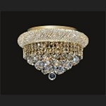 Bagel Design 6-Light 16'' Chrome or Gold Round Ceiling Flush Mount Dressed with European or Swarovski Crystal  SKU# 14879