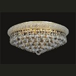 Bagel Design 8-Light 18'' Chrome or Gold Round Ceiling Flush Mount Dressed with European or Swarovski Crystal  SKU# 17954