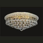 Bagel Design 8-Light 20'' Chrome or Gold Round Ceiling Flush Mount Dressed with European or Swarovski Crystal  SKU# 18954