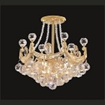 4 & 6 Corner Design 3-Light 8'' Gold Ceiling Flush Mount Dressed with European Crystals SKU* 902171