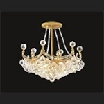 4 & 6 Corner Design 6-Light 16'' Chrome or Gold Ceiling Flush Mount Dressed with European Crystals SKU# 54681