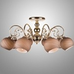 8 Light Gold Semi Flush Mount Fixture with Tea-Stained  Swirl Glass Shades SKU# 2347-118