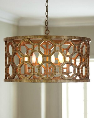 "Regatta Collection 6-Light 25"" Stained Silver Leaf Drum Chandelier with Genuine Smoked Capiz Shell Mosaic 104-46"