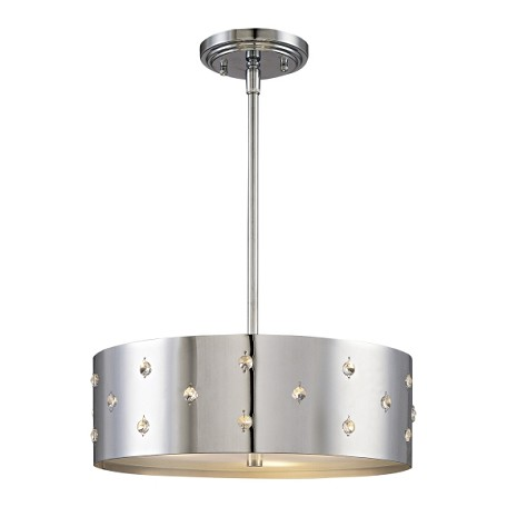"Bling Bling Collection 3-Light 14"" Chrome Drum Pendant with Crystal Accents P033-077"