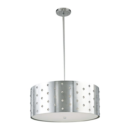 "Bling Bling Collection 4-Light 22"" Chrome Drum Pendant with Crystal Accents P034-077"