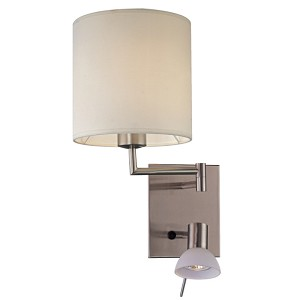 "George's Reading Room Collection Brushed Nickel 2-Light 16"" White Fabric Shade and Frosted Glass Wall Lamp with Reading Lamp P1050-084"