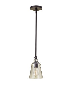 "Urban Renewal Collection 1-Light 5"" Oil Rubbed Bronze Mini Pendant with Clear Seeded Glass P1261ORB"