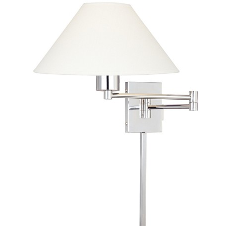 "Boring Collection 1-Light 28"" Chrome Swing Arm Wall Lamp with Stretched Oyster Linen Shade P4358-1-077"