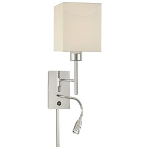 "Chrome 2-Light 20"" White Fabric Shade Swing Arm Wall Lamp with Reading Lamp P477-077"