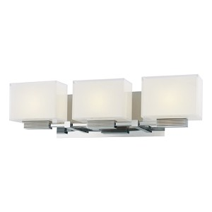 "Cubism Collection 3-Light 21"" Chrome Bath Vanity Fixture with Inside Etched White Glass P5213-077"