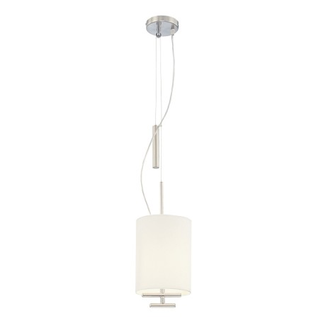 "Counter Weights Collection 1-Light 12"" Satin Steel Pendant with White Linen Fabric Shade P542-612"