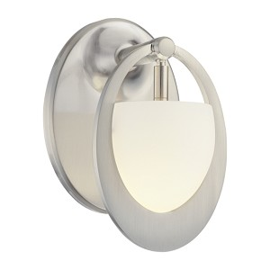 "Earring Collection 1-Light 7"" Brushed Nickel Wall Sconce with Etched Opal Glass P5901-084"