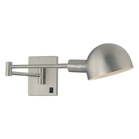 Matte Brushed Nickel 1 Light Plug In Wall Sconce From The P3 Collection