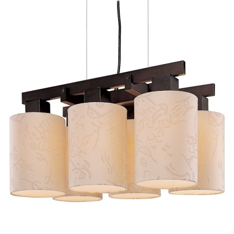 Antique Bronze 6 Light 1 Tier Linear Chandelier From The Kimono Collection