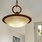 "Cirque Collection 4-Light 28"" Brown Suede Pendant with Antique Pearl Glass 84-74"