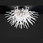 "Medusa Collection 53-Light 34"" White Glass Modern Ceiling Light 87772-PC"