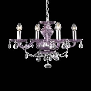 "Princeton Collection 4-Light 17"" Purple Glass Mini Chandelier with Crystal 7834D17PE/RC"