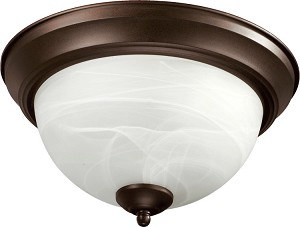 "Quorum International 15"" Oiled Bronze Flush Mount 3066-15-86"