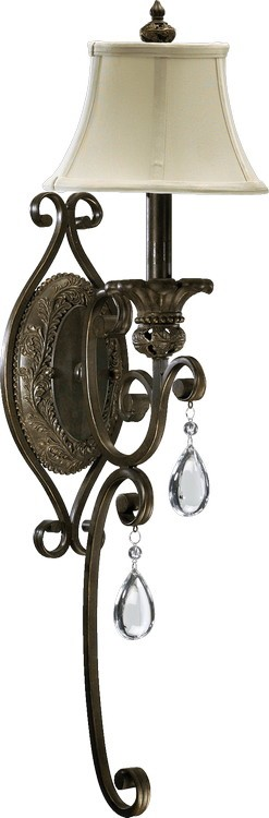 "Fulton Series 1-Light 28"" Classic Bronze Wall Sconce with Crystal Accents 5532-1-54"