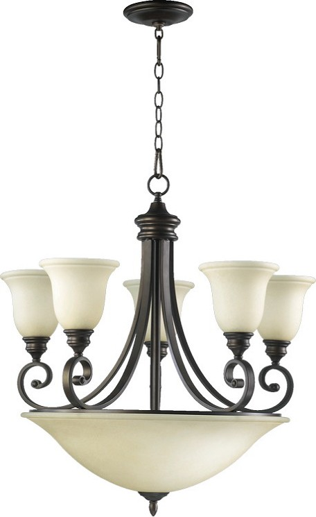 "Bryant Family 9-Light 27"" Oiled Bronze Chandelier with Amber Scavo Glass 6254-9-86"