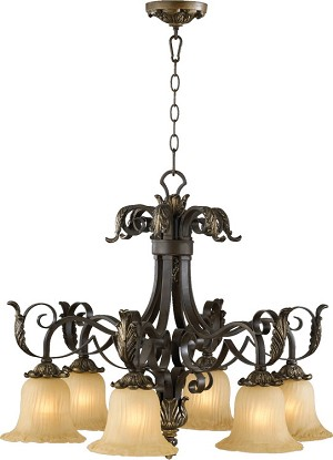 "Belmira Family 28"" Toasted Sienna With Golden Fawn Chandelier 6391-6-44"