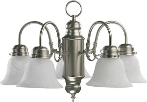 "Quorum International 20"" Satin Nickel Chandelier 6429-5-65"