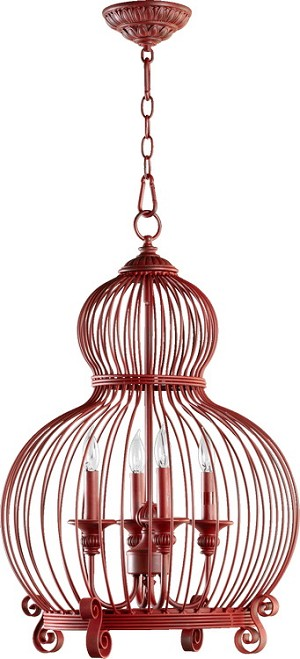 "Quorum International 4-Light 27"" Red Pendant 6765-4-34"