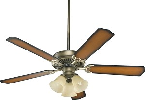 "Capri VI Family 52"" Antique Flemish Ceiling Fan with Light Kit 77525-1722"