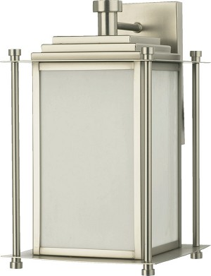 "Shoreham Family 3-Light 13"" Satin Nickel Outdoor Wall Lantern 7950-3-65"