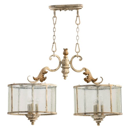 "Florence Collection 6-Light 36"" Persian White Island Chandelier with Seeded Glass 6537-6-70"