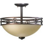 "Lone Star Family 14"" Toasted Sienna Dual Mount Ceiling Light 2828-15-44"