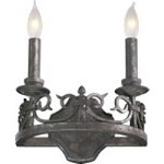 "Lorenco Family 2-Light 9.25"" Spanish Silver Twisted Iron Wall Sconce 5293-2-50"