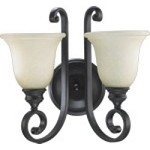 "Bryant Family 2-Light 15"" Oiled Bronze Wall Sconce with Amber Scavo Glass 5454-2-86"
