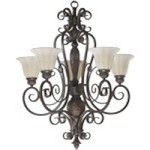 "Coronado Family 28"" Gilded Bronze Chandelier 6195-5-38"