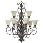 "Coronado Family 34"" Gilded Bronze Chandelier 6195-9-38"