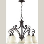 "Bryant Family 5-Light 30"" Oiled Bronze Chandelier with Amber Scavo Glass 6354-5-86"