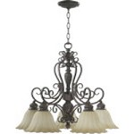 "Coronado Family 25"" Gilded Bronze Chandelier 6495-5-38"