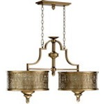 "French Damask 6-Light 38"" Vintage Pewter Island Chandelier 6597-6-18"