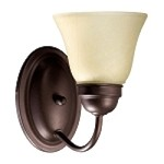 "Quorum International 1-Light 7"" Oiled Bronze Wall Sconce with Amber Scavo Glass 5403-1-86"