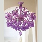 "Bella Vetro 8-Light 36"" Purple Blown Glass Chianti Chandelier 02996"