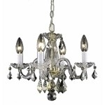"Rococo Collection 4-Light 15"" Gold Crystal Mini Chandelier 7804D15G/RC"